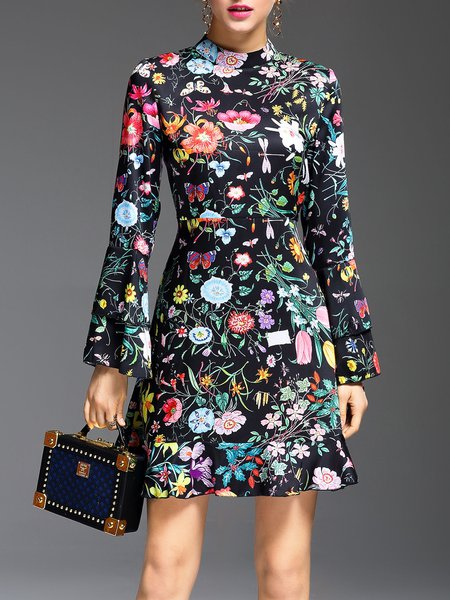 Multicolor Floral A-line Frill Sleeve Midi Dress