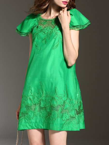 Green Shift Embroidered Casual Plain Mini Dress