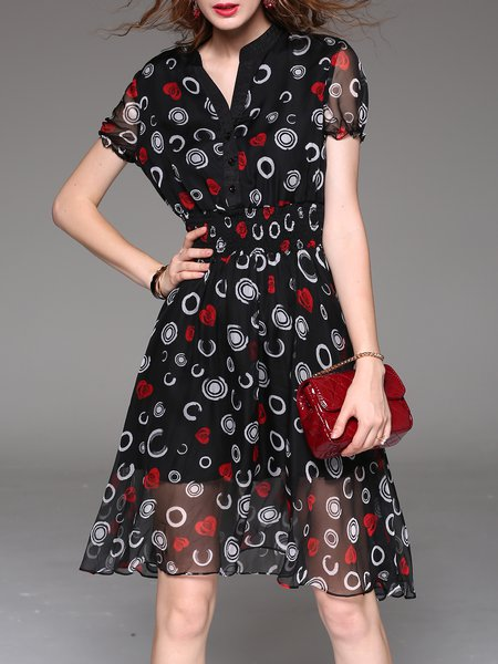 Black Abstract Casual Polyester Midi Dress