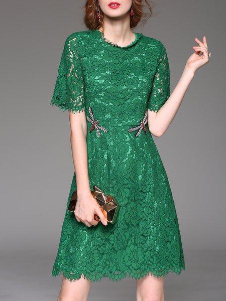 Elegant Lace Crew Neck Plain Half Sleeve Mini Dress