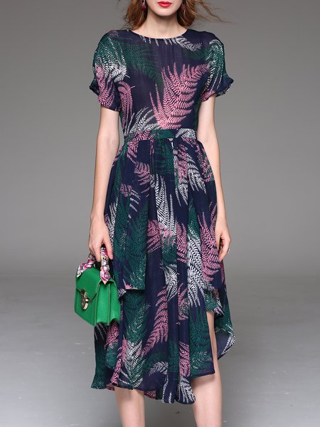 Multicolor Crew Neck Short Sleeve Asymmetric Midi Dress