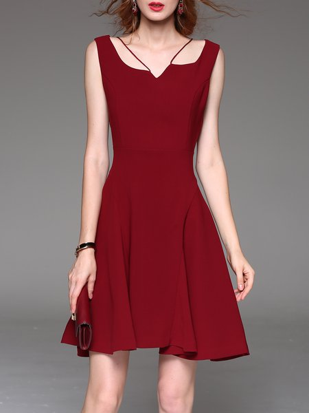 Red Casual Skater Polyester Mini Dress