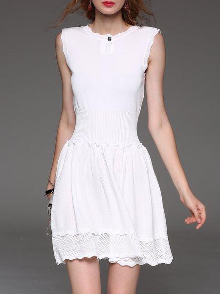 Sleeveless Crew Neck Elegant Paneled Mini Dress