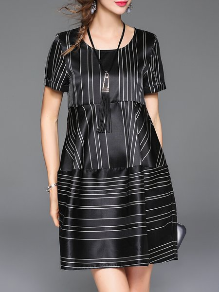 Black Casual Crew Neck A-line Stripes Mini Dress