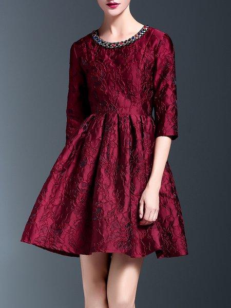 Wine Red Elegant Floral Embroidered Midi Dress