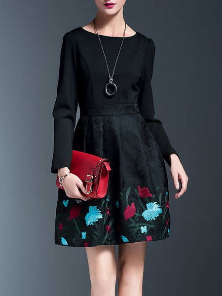 Polyester Long Sleeve Elegant Floral Crew Neck Midi Dress