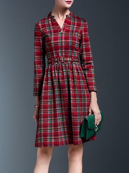 Red Elegant Checkered/Plaid Midi Dress With Belt