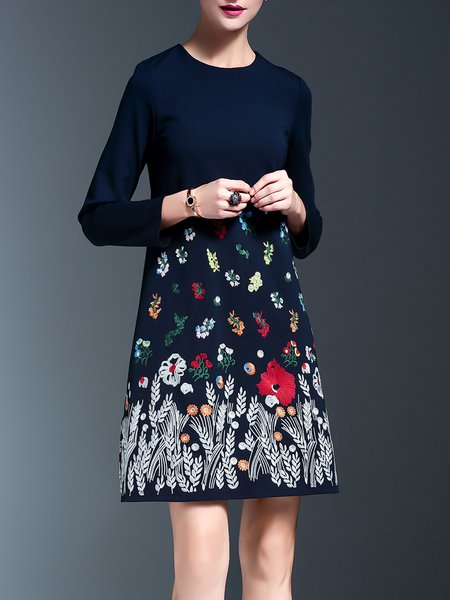 Cotton-blend 3/4 Sleeve Embroidered Elegant Floral Midi Dress