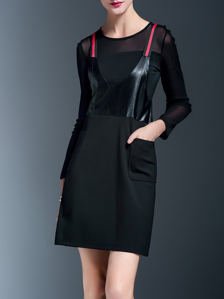 Black Color-block Cotton-blend Casual Overall