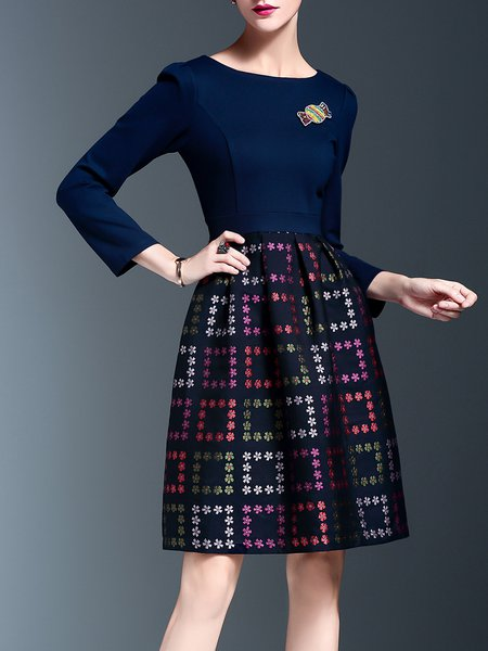 Multicolor 3/4 Sleeve Geometric A-line Midi Dress