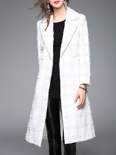 White Checkered Pockets Long Sleeve Lapel Coat with Belt