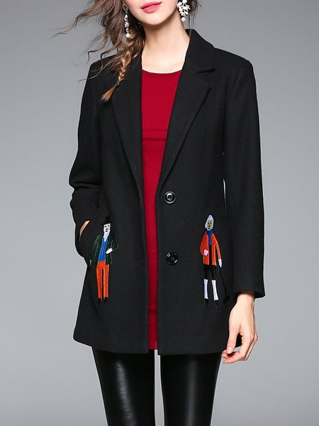Black Casual Long Sleeve Lapel Buttoned Coat