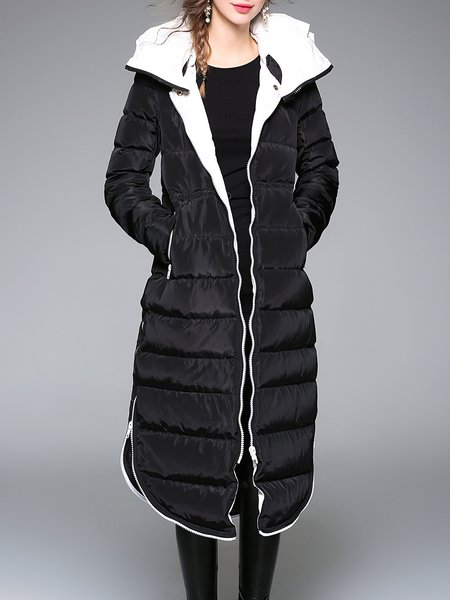 Black Zipper H-line Statement Hoodie Down Coat