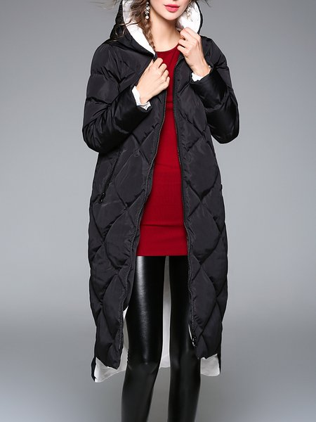 Pockets Hoodie Elegant High Low Down Coat