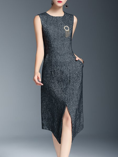 Gray Beaded Cotton-blend Plain Elegant Asymmetrical Midi Dress