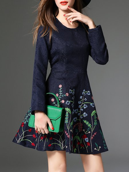 Navy Blue Floral Embroidered Long Sleeve Midi Dress
