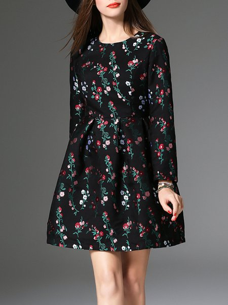 Cotton-blend Embroidered Long Sleeve Vintage Floral Midi Dress