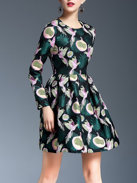 A-line Animal Embroidered Long Sleeve Vintage Midi Dress