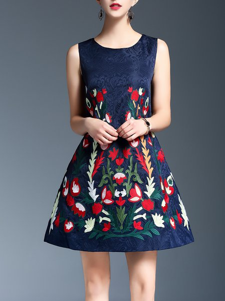Navy Blue A-line Sleeveless Floral Embossed Midi Dress