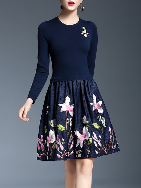 Dark Blue Cotton-blend Elegant Floral Embroidered Midi Dress