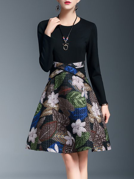 A-line Crew Neck Long Sleeve Floral Elegant Midi Dress