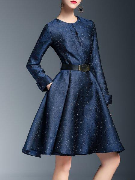 Dark Blue Crew Neck A-line Polka Dots Elegant Midi Dress With Belt