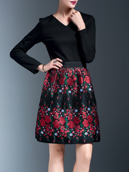 Elegant Cotton-blend Long Sleeve Paneled Floral Midi Dress