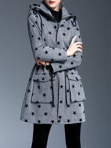 Gray A-line Long Sleeve Star Printed Hoodie Coat