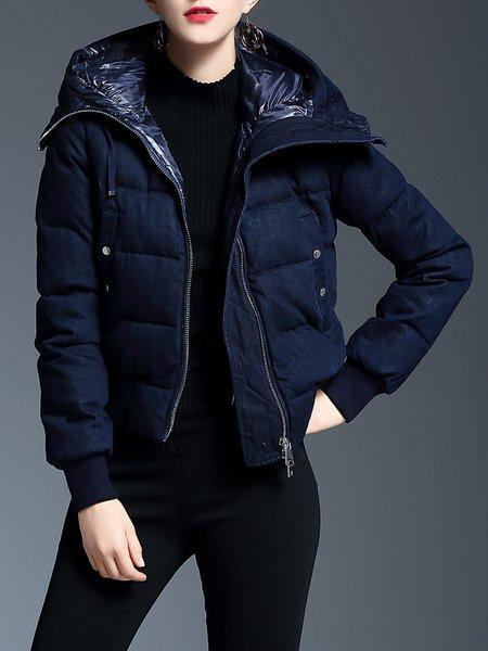 Dark Blue Casual Hoodie Down Coat