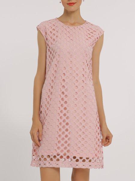 Pink Short Sleeve Eyelet A-line Crew Neck Midi Dress