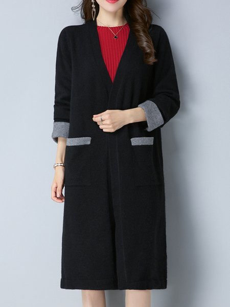 Pockets Solid Long Sleeve Cardigan