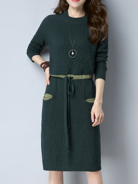 Dark Green Casual Solid Knitted Sweater Dress