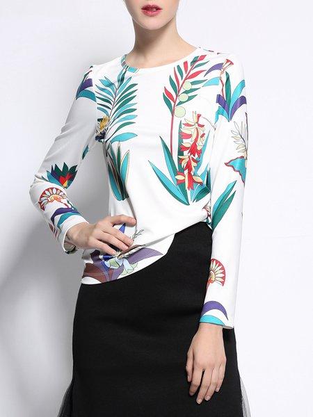 Multicolor Floral-print Long Sleeve Cotton T-Shirt