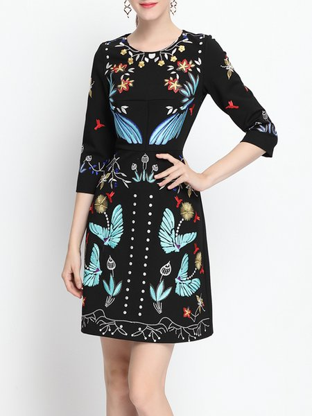 3/4 Sleeve Crew Neck Butterfly Embroidered Casual Midi Dress