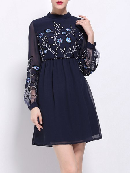 Balloon Sleeve Casual Crew Neck Floral-embroidered Floral Mini Dress