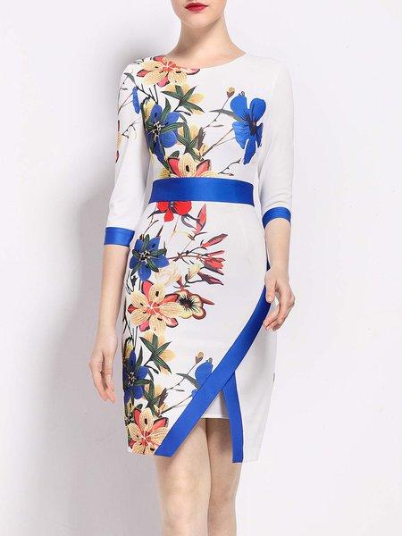 Multicolor Elegant Printed Midi Dress