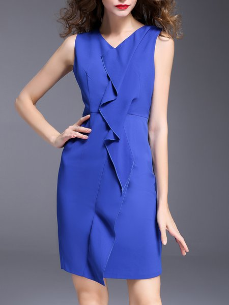 Royal Blue V Neck Elegant Solid Midi Dress