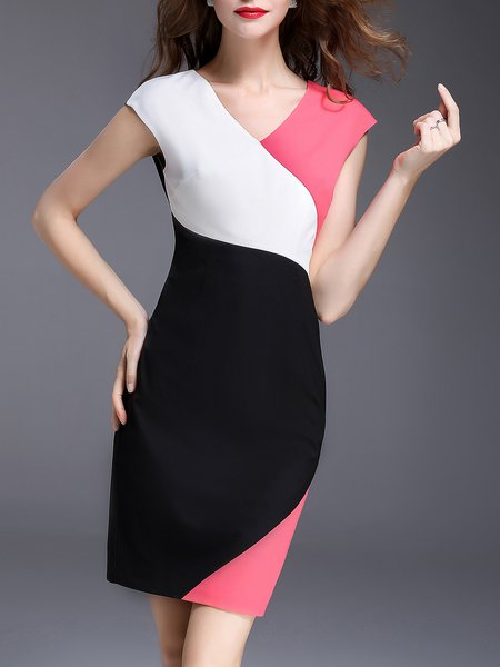 V Neck Color-block Elegant Sleeveless Midi Dress