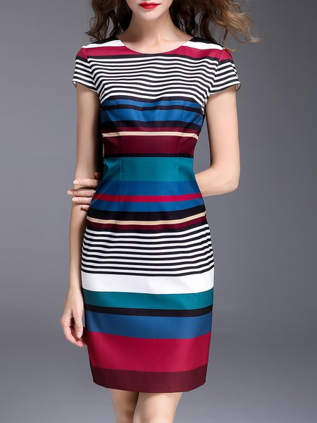 Multicolor Stripes Sheath Elegant  Midi Dress