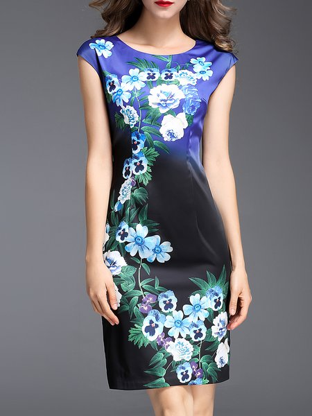 Black-blue Shorts Sleeve Floral Sheath Midi Dress