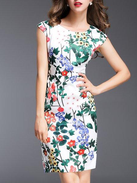 Multicolor Crew Neck Sheath Shorts Sleeve Floral-print Midi Dress