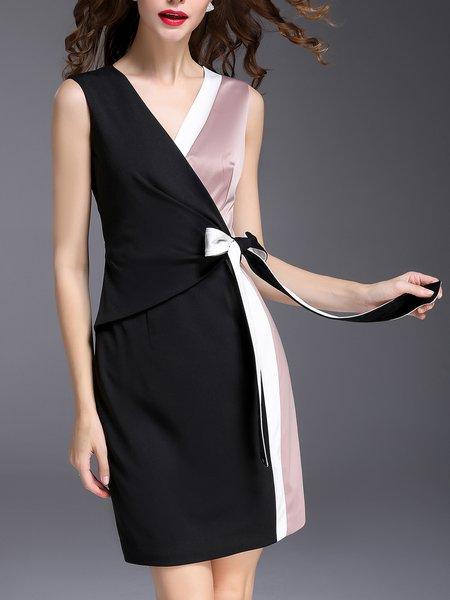 Black-pink Surplice Neck Sleeveless Wrap Midi Dress