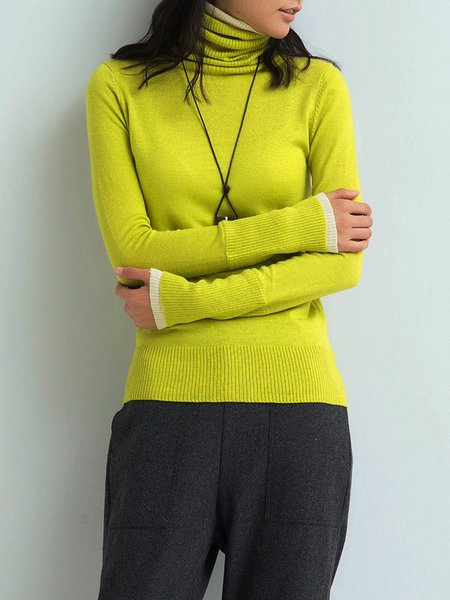 Color-block Long Sleeve Cowl Neck Casual Sweater