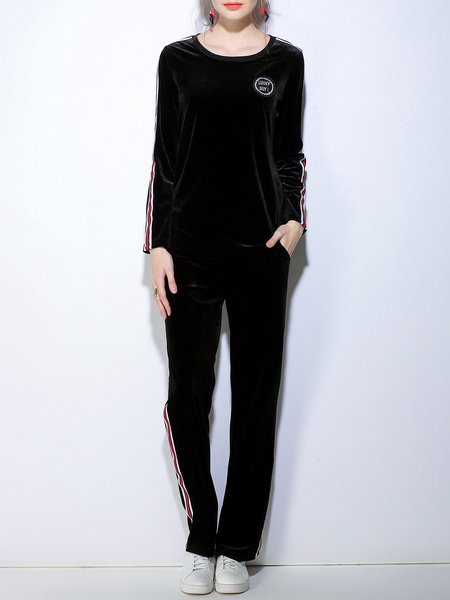 Black Spandex Letter Crew Neck Casual Top With Pants