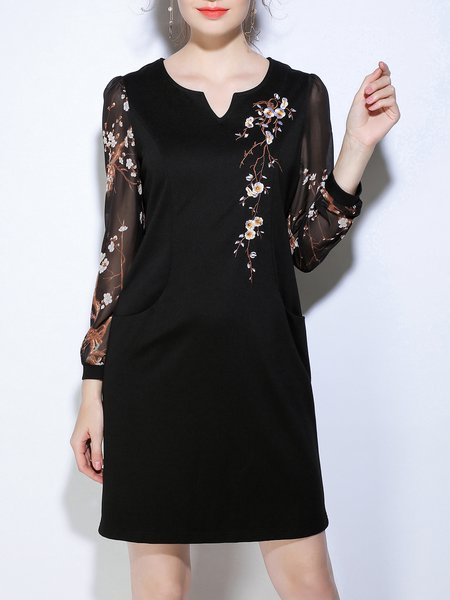 Floral-print Long Sleeve Casual  Midi Dress