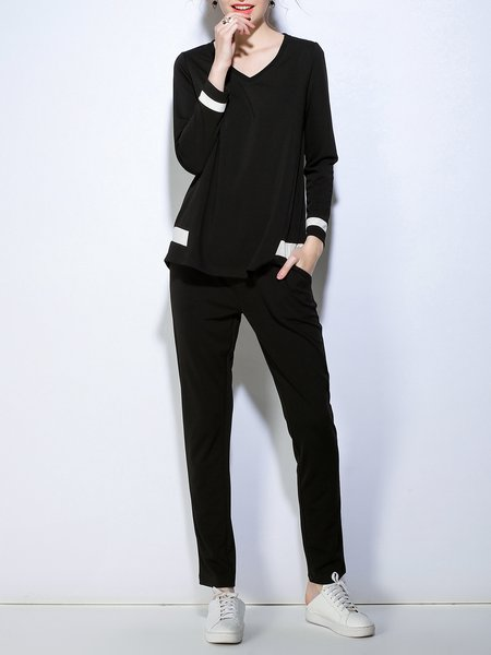 Black Long Sleeve Top With Pants