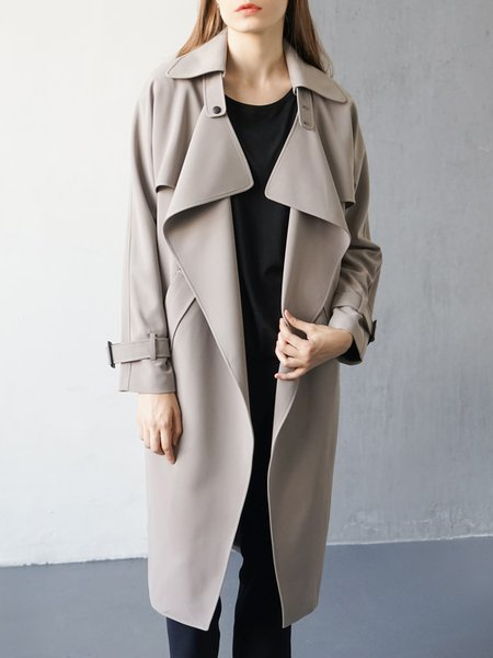 Gray Pockets Lapel Elegant Trench Coat