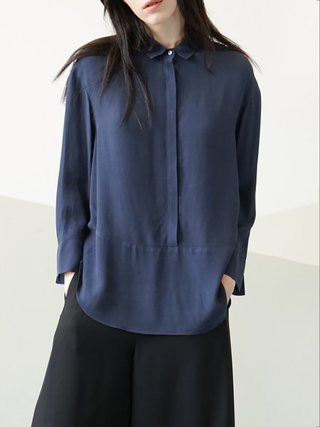 Navy Blue H-line Plain Long Sleeve Rayon Blouse