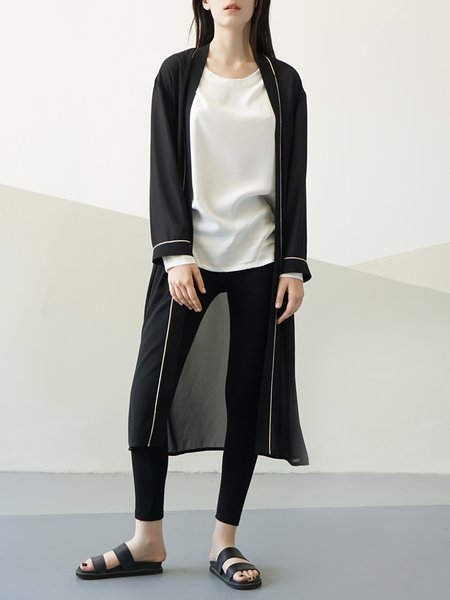 Black Polyester Plain Long Sleeve Cardigan