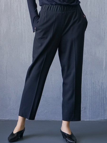 Navy Blue Solid Pockets Simple H-line Straight Leg Pants